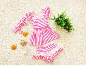 2017 Girls summer cute stripe swimsuit  , swimsuit children , swimsuit for baby , 4pcs/lot WZ15