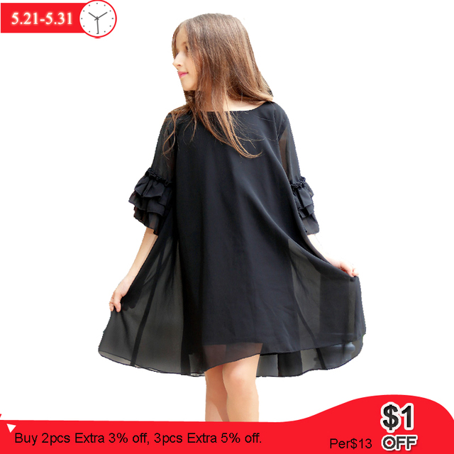 Girls Dress 8 10 12 14 15 years Summer Flare Sleeve Chiffon Black Dress For Little Girl age 6 7 8 9 Party Teenage Girls Clothes