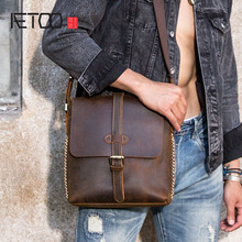 AETOO Handmade old mens bag crazy horse leather shoulder retro casual small first layer messenger