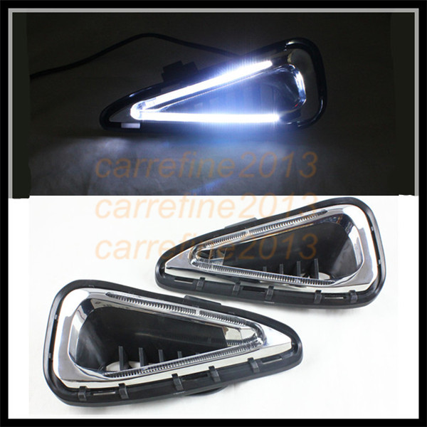car styling white DRL For Toyota camry 2014-2015 drl led daytime running light drl cover fog lamp For Toyota camry car fog lamp 1 pair daytime running lights drl daylight car white led drl fog head lamp cover car styling for subaru forester 2013 2014 2015