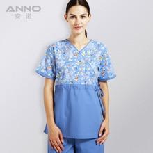 ropa de verano de las mujeres médico hospital friega enfermera uniforme clínica dental y salón de belleza diseño de moda slim fit