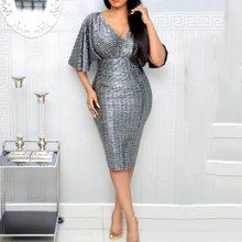 2019 New Party Sequins Bodycon Dress Women V Neck Sexy Clubwear High Waist Slim Summer Office Ladies Elegant Gray Midi Dresses цена и фото