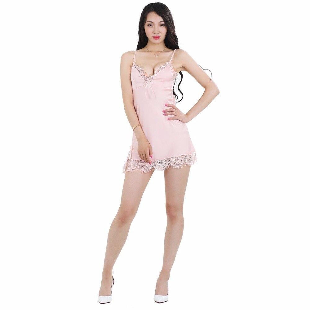 SHETELISI Solid Satin Chiffon Γυναικεία Νυχτικά Μαύρο / Ροζ / Ανοιχτό Κίτρινο Σέξυ Δαντέλα Πυτζάμες Καλοκαίρι Νυχτικό sp0027