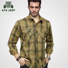 AFS JEEP Large size M-5XL 2017 European men casual brand spring plaid long sleeve shirt autumn man 100% cotton grid full shirts