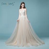 Elegant Champagne Wedding Dress 2018 Long Sleeveless Lace Bridal Gown Tulle Boho Wedding Gown Robe de mariee Vestido Novia NW4