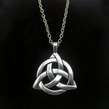 12pcs/lot Alpaca Silver Celtic Trinity Thor Knot Wicca Charmed Necklace in Movie Jewelry