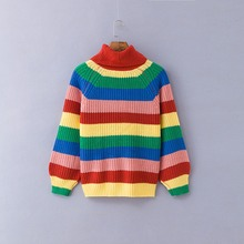 1ec897a815 Women Rainbow Striped Pullover Sweaters 2018 Winter And Autumn Turtleneck  Loose Oversizd Knit Jumpers Fashion Colorful