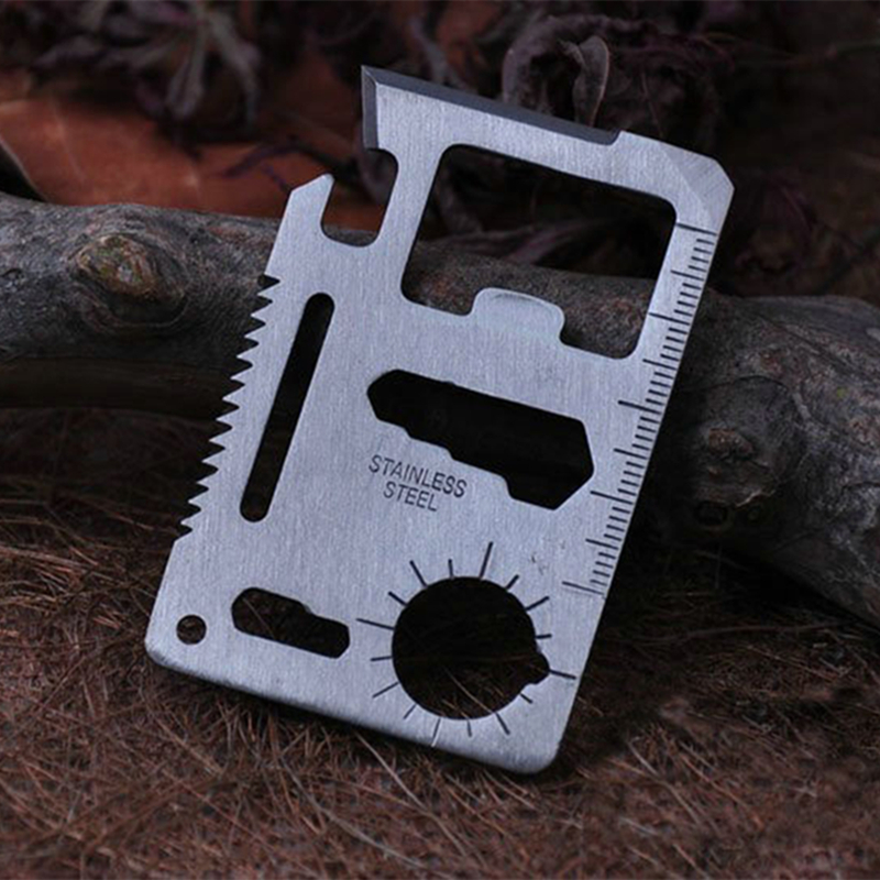 11 In 1 Mini Stainless Steel Can Bottle Opener Wrench Tactical Pocket Card Tools Outdoor Sports Defense Survival Emergency Kits