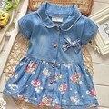 Лето с бантом свободного покроя девушки дети ребенок короткими рукавами флора кардиган платья, Принцесса детские джинсы платье Vestido S3154