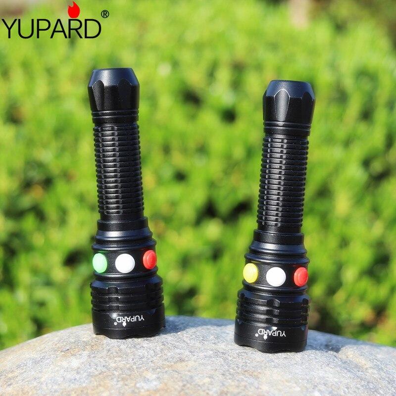 YUPARD Q5 LED signal lumineux Vert Jaune Blanc Rouge Lampe De Poche LED Torche lumière lampe de signalisation Pour 3 x AAA ou 1x18650 Batterie