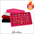 Superior Velvet Ring Display Holder Tray Ring Storage Box Jewelry Organizer Case 4 Colors [Red, Pink, Black, White] Availbale
