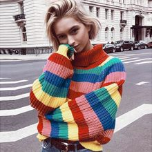 3f5883abd Estilo Casual mujeres suéter de punto rainbow Color Pullovers Stripe manga  larga de cuello alto suéter hecho punto blusa de tela