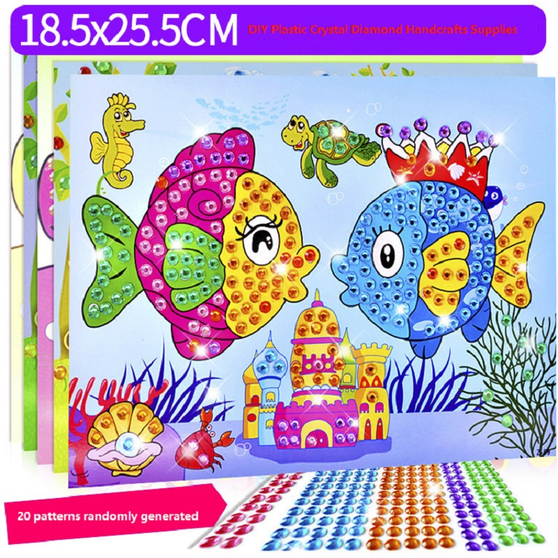 10 Pcs Creative DIY Diamond Handmade Stickers Crystal Paste Painting Mosaic Puzzle Stickers Toys Children Early Education Gift