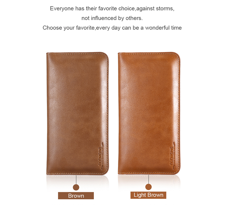 FLOVEME Genuine Leather Wallet Case For iPhone 6 6S 7 Plus Cover Multi-function Vintage Luxury Phone Pouch For Samsung S6 S7 (14)