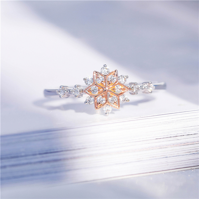 Fashion Snowflake Ring Double Color Engagement Wedding Gift With Austrian Crystals Zircon Full Sizes Chic Delicate Jewelry Z4