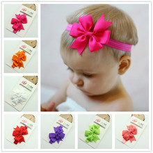 2016 New Arrival infant Baby hairbow flower Headband newborn toddler ribbon Hair Band children hairbow Accessory 5 pcs/lot