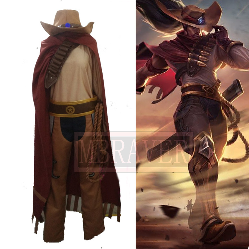 LOL Yasuo Western Cowboy Uniforms Cosplay Costume Free Shipping tote bags for work