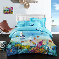 Beautiful Starfish Dolphin and Flowers Plaid Baroque Bedding Set Queen King Size Cotton Printed Bedsheets Pillowcase Quilt Cover