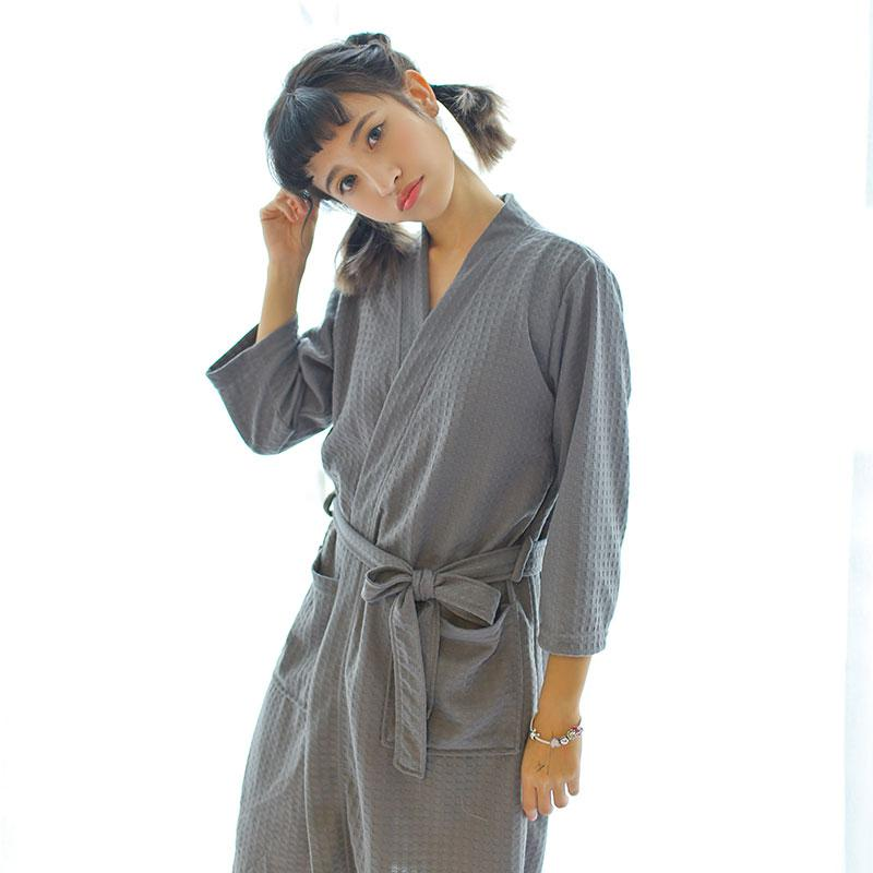 12c0115cfb Dropwow Towel Bath Robe Dressing Gown Unisex Men Women Solid Cotton ...