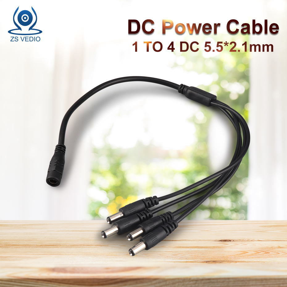 ZSVEDIO 1 Pcs/lot 5.5x2.1mm DC Power Cable 1 Female To 2 4 Male Plug Splitter Adapter For Security Ip Camera And LED Strip