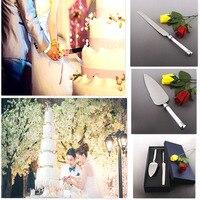 Kişiselleştirilmiş Paslanmaz Çelik Düğün Pastası Bıçak Seti Sunucu Düğün Pastası Ayarlayın Serving Kristal Düğün Dekor için Kolları ile
