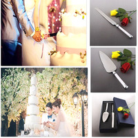 Personalized Stainless Steel Wedding Cake Knife Server Set Wedding Cake Serving Set with Crystal Handles for Wedding Party Decor