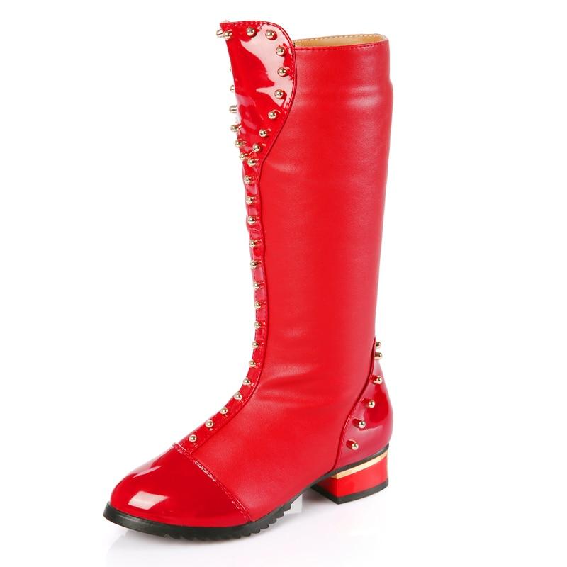 Warm Baby Booties Girls Winter Autumn PU Rubber Boots Kids Meisjes Laarzen Purpecontrol Fashion Casual Girls Riding Boots 50Y019
