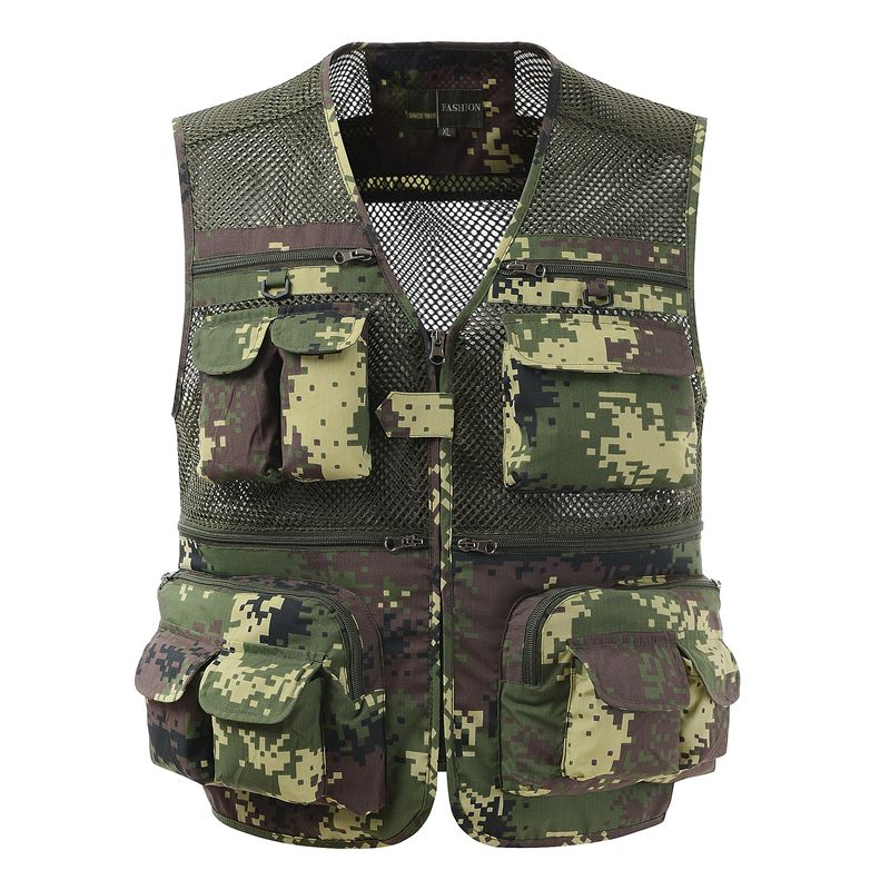 Fashion Men Vest Summer Breathable Mens Jackets Multi-pockets Professional Photography Work Waistcoat