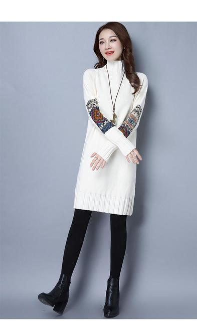 Fashion Fall England Style Knitted Sweater Casual Long Turtleneck Sweater Women Pullover Long Sleeve Sweaters Vestidos Plus Size