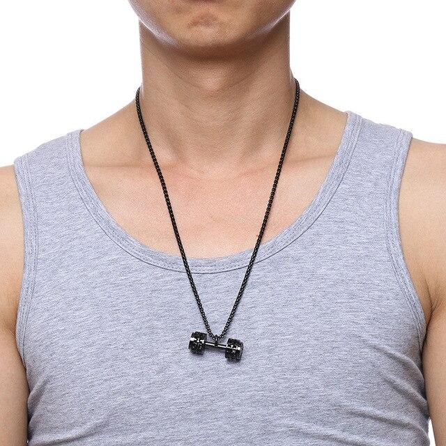 модное мужское ожерелье с гантелями кулоны высокого качества фотография