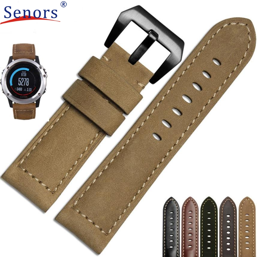 Superior Genuine Leather Watch Replacement Band Strap + Lugs Adapters For Garmin Fenix 3 / HR July 5 replacement silicone watchband strap for garmin d2 fenix fenix2 fenix3 fenix3 hrtactix watch lugs adapters tools correa reloj