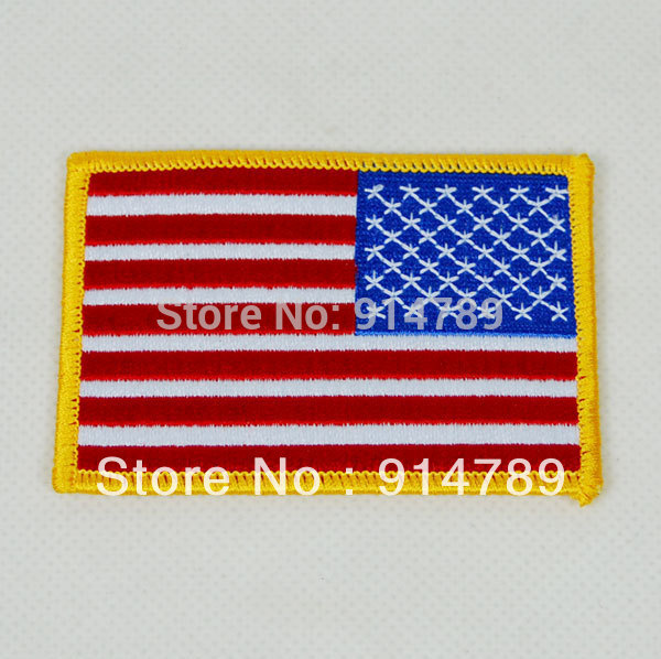 AMERICAN US FLAG EMBROIDERED INSIGNIA SHOULDER PATCH GOLD BORDER -32000