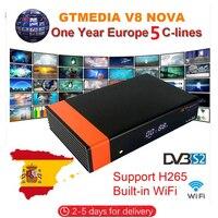 Gtmedia v8 nova DVB S2 FTA Satellite Receiver Freesat v8 with Europe Cccam 7 lines for 1 year Support H.265 Built in WiFi
