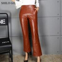 SHILO GO Leather Pants Womens Autumn Fashion sheepskin genuine leather Pants high waist zipper concise long flare pants