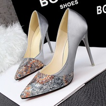 New fashion Spring Pointed toe Floral mesh women pumps spell color Thin heel Satin women High heeled shoes party pumps shoes