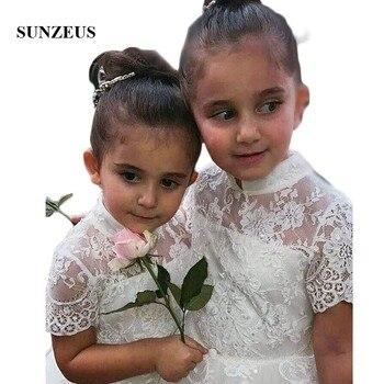 High Neck Short Sleeve Lace Flower Girls Dresses 2020 Soft Tulle Girls Pageant Dresses Short Sleeve vestidos de comunion  SF10