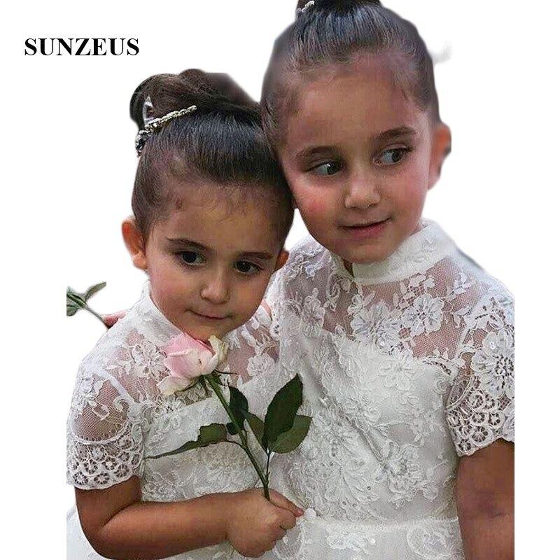 High Neck Short Sleeve Lace   Flower     Girls     Dresses   2018 Soft Tulle   Girls   Pageant   Dresses   Short Sleeve vestidos de comunion SF10