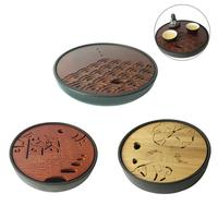 Household Round Bamboo Dry Tea Tray Ceramic Water Storage Tea Tray Handmade Kung Fu Teaboard