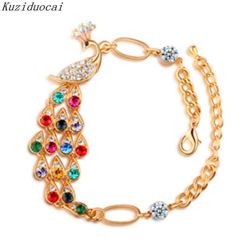 Kuziduocai New Hot ! Fashion Fine Jewelry Rhinestone Crystal clear Luxury Colorful Bracelets & Bangles For Women Girl Gifts B-62