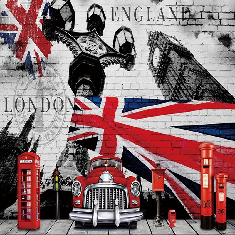 Us 1625 38 Offcustom Photo Wallpaper 3d Stereo British Flag British Style Retro Nostalgia Backdrop Wall Custom Wallpaper Lobby Office Mural In