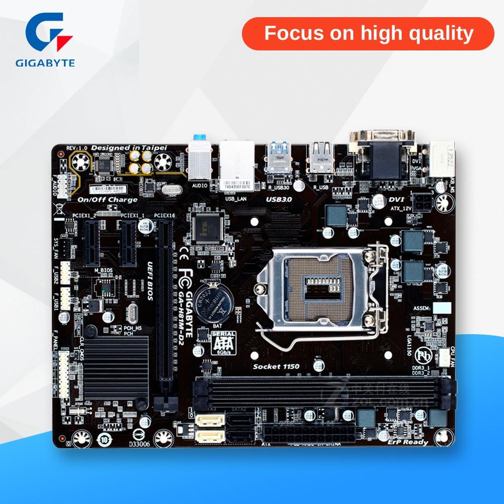 Gigabyte GA-H81M-D2 Original Used Desktop Motherboard H81M-D2 H81 LGA 1150 i3 i5 i7 DDR3 16G SATA3 Micro-ATX gigabyte ga h61m d2 b3 desktop motherboard h61 socket lga 1155 i3 i5 i7 ddr3 16g u atx original h61m d2 b3 used mainboard