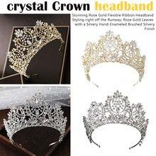 Luxury Handmade Rhinestone Crown Tiaras Silver Crystal Diadem Headbands Wedding Hair Accessories Jewelry