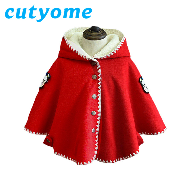 Baby girls hoodies cloak coat toddler kids winter fleece cape poncho cloak childrens christmas outerwear poncho