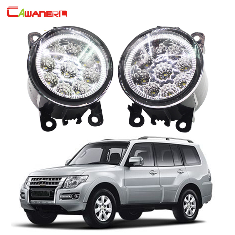 Cawanerl 2 X Car Styling LED Fog Light DRL Daytime Running Light 12V For Mitsubishi PAJERO 4/IV V8_W V9_W 2007-2015