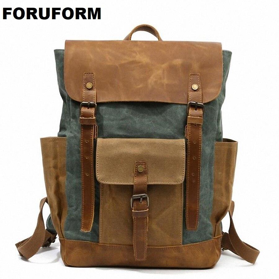 Vintage Military Backpack Male Travel Bag Large Waterproof Backpack School Shoulder bagpack Canvas Men Casual Daypack LI-2125