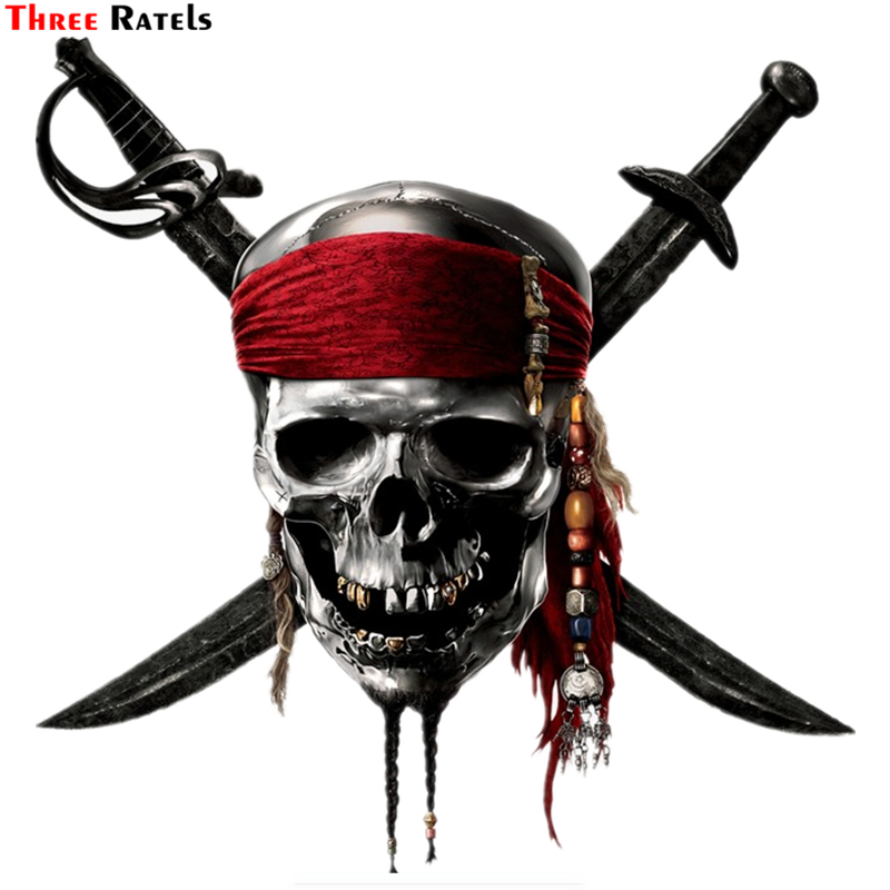 Three Ratels TZ-1336#18.4*18cm Pirate Skull Cranium Knives Car Stickers Funny Car Sticker Auto Decals