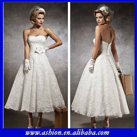 Free shipping WE 1629 Elegant lace overlay tea length wedding dress ...