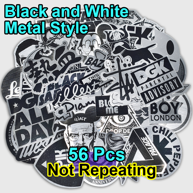56 pcs metal style black and white stickers for laptop skateboad bicycles phone car styling fashion