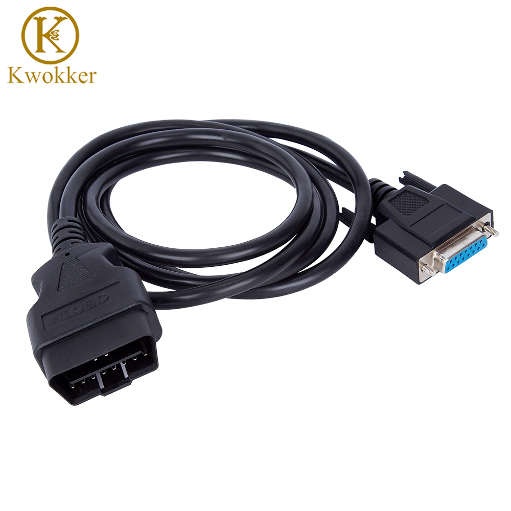 Автомобильный кабель-удлинитель KWOKKER, 5 футов, OBD2, 16 контактов, DB9, штекер-гнездо, OBD диагностический удлинитель, шнур-адаптер, 16-контактный каб...