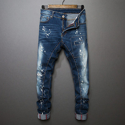 Men Stylish Ripped Jeans Pant Biker Hole Skinny Slim Straight Denim Trousers
